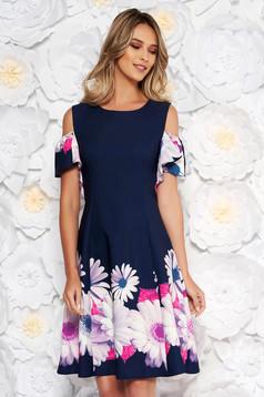 Darkblue elegant cloche dress short sleeve slightly elastic fabric both shoulders cut out