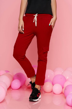 SunShine burgundy casual trousers with elastic waist with pockets slightly elastic cotton