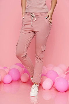 SunShine rosa casual trousers with elastic waist with pockets slightly elastic cotton