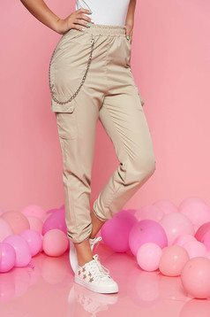 SunShine cream casual trousers with medium waist with elastic waist detachable chain