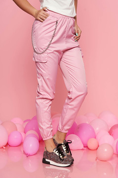 SunShine pink casual trousers with medium waist with elastic waist detachable chain