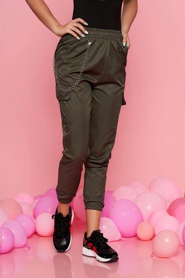 SunShine khaki casual trousers with medium waist with elastic waist detachable chain