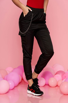 SunShine black casual trousers with medium waist with elastic waist detachable chain