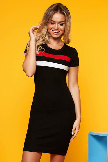 SunShine black casual dress with tented cut short sleeves