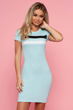 SunShine lightblue casual dress with tented cut short sleeves