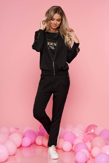 SunShine black casual set from 2 pieces with trousers with sequin embellished details slightly elastic cotton
