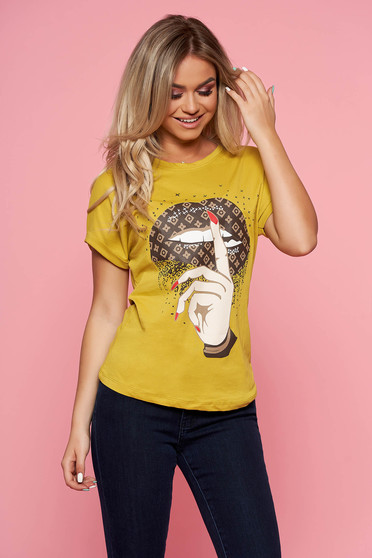 SunShine lightgreen casual t-shirt short sleeve slightly elastic cotton
