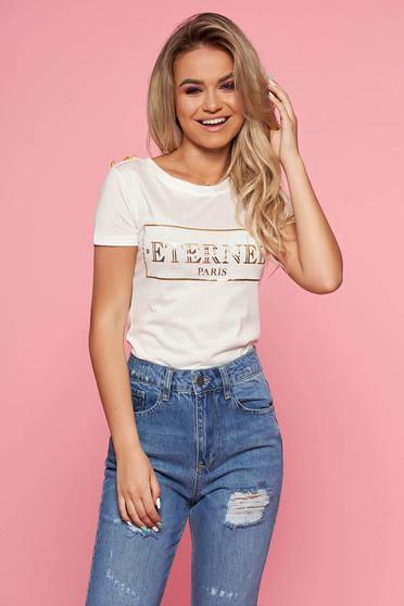 SunShine white casual t-shirt short sleeve slightly elastic cotton