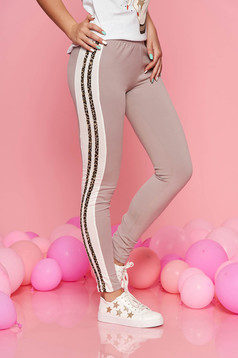 SunShine cream sporty tights with medium waist slightly elastic cotton with elastic waist
