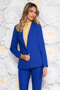 Blue jacket with inside lining office from non elastic fabric arched cut