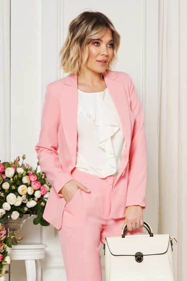 Pink jacket with inside lining office from non elastic fabric arched cut