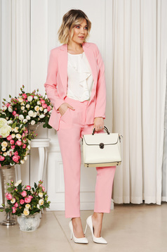 Pink office trousers with pockets medium waist slightly elastic fabric with straight cut