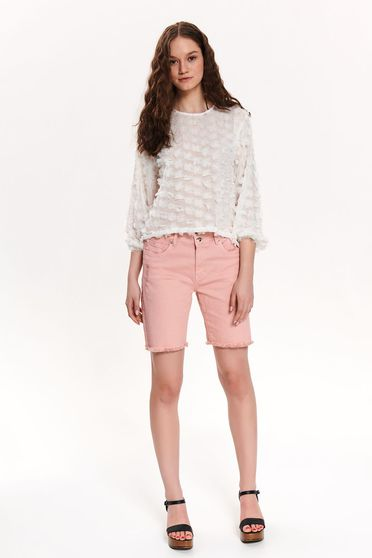 Pink short casual knee-length small rupture of material