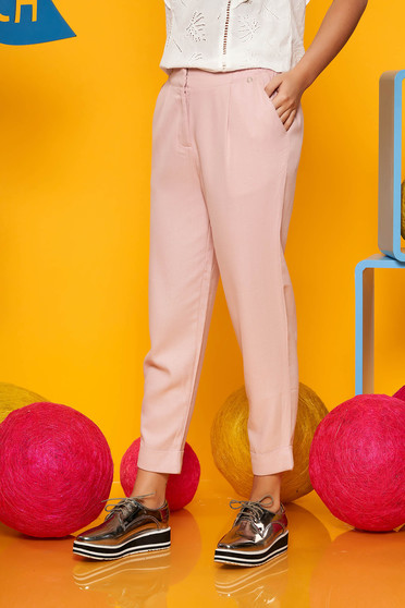 Lightpink casual wwith medium waist trousers airy fabric with pockets