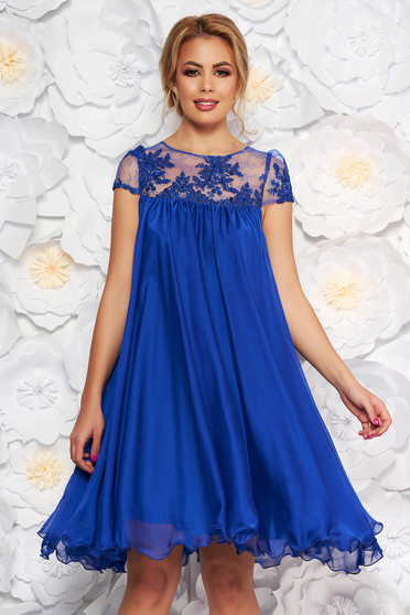 Artista blue occasional dress with easy cut with embroidery details from veil with inside lining