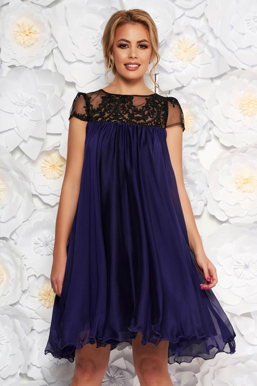 Artista purple occasional dress with easy cut with embroidery details from veil with inside lining