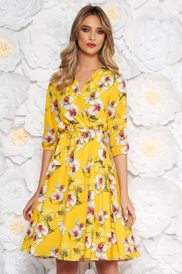 StarShinerS yellow elegant cloche dress with elastic waist thin fabric with floral print