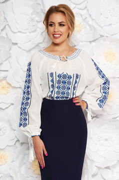 Blue flared embroidered women`s shirt nonelastic cotton with laced details
