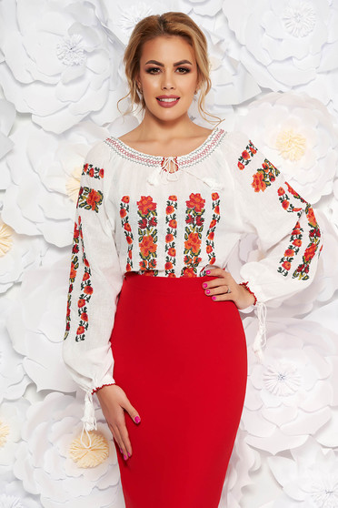 Red flared cotton embroidered women`s shirt