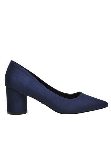 Top Secret darkblue elegant office shoes from satin fabric texture chunky heel