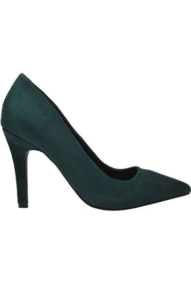 Top Secret green office shoes slightly pointed toe tip from velvet fabric