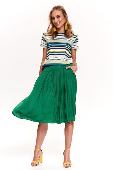Top Secret green casual flared t-shirt cotton with stripes