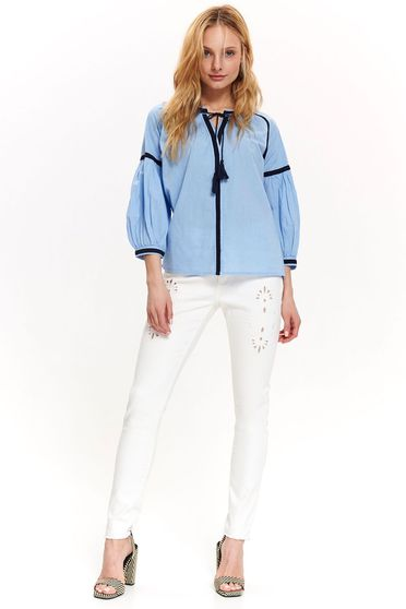 Top Secret blue casual flared women`s blouse 3/4 sleeve