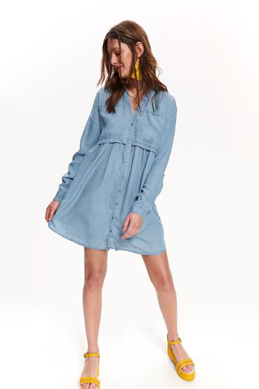 Top Secret blue daily flared dress with v-neckline denim
