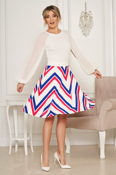 StarShinerS white elegant cloche skirt high waisted with pockets