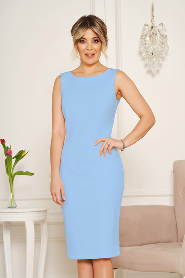 StarShinerS basic blue pencil with cut back dress elegant midi