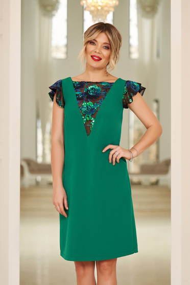 StarShinerS green occasional flared dress with sequin embellished details
