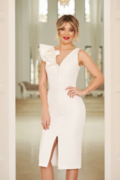 StarShinerS white occasional dress with v-neckline with tented cut slightly elastic fabric with ruffle details