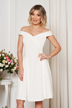 StarShinerS white occasional elegant cloche dress with a cleavage off shoulder flexible thin fabric/cloth