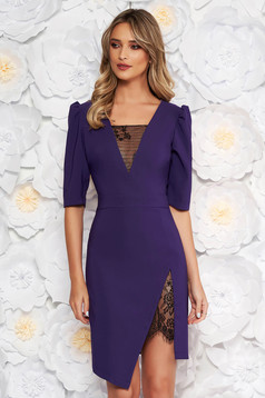 LaDonna purple elegant dress with tented cut with v-neckline with lace details