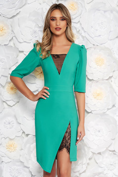 LaDonna green elegant dress with tented cut with v-neckline with lace details