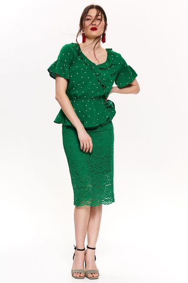 Top Secret green women`s blouse with ruffle details with v-neckline short sleeve airy fabric dots print