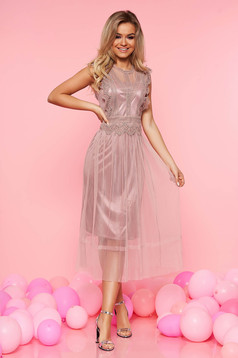 Top Secret rosa occasional sleeveless cloche dress with lace details transparent fabric