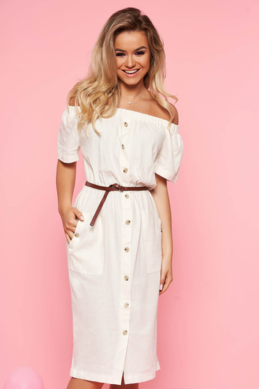 Top Secret white daily midi linen dress short sleeve accessorized with belt