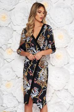 LaDonna black elegant midi pencil dress with v-neckline slightly elastic fabric with graphic print