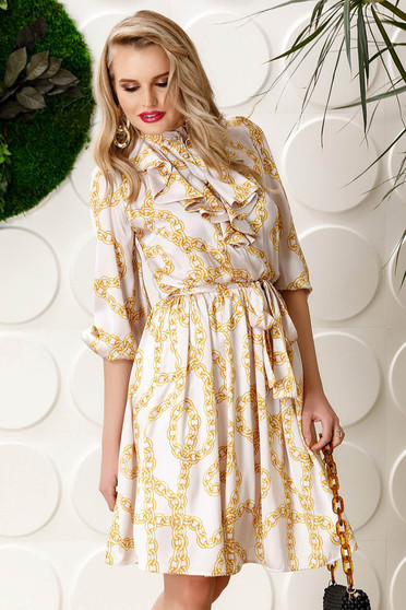 PrettyGirl white daily cloche dress accessorized with tied waistband 3/4 sleeve