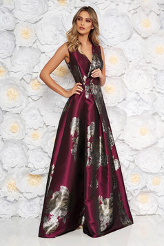 Burgundy occasional cloche dress with v-neckline with floral print