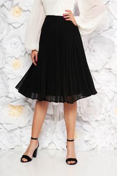 StarShinerS black elegant cloche skirt with medium waist voile fabric folded up