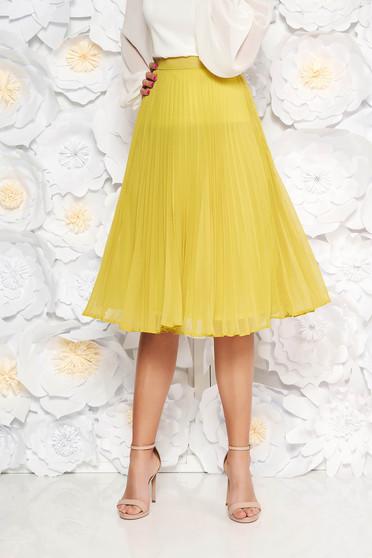 StarShinerS lightgreen elegant cloche skirt with medium waist voile fabric folded up