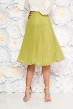StarShinerS lightgreen elegant cloche skirt with medium waist voile fabric folded up