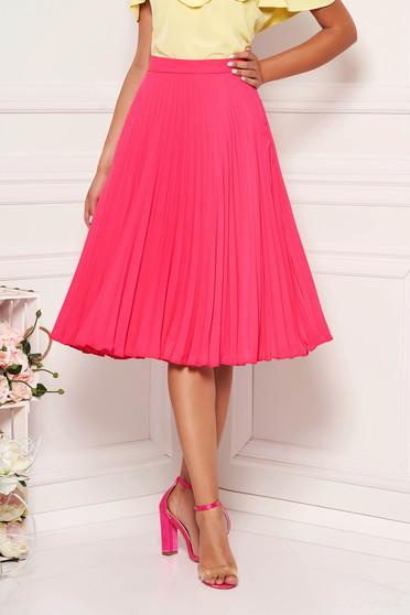 StarShinerS fuchsia elegant cloche skirt with medium waist voile fabric folded up