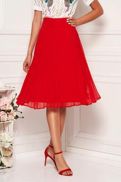 StarShinerS red elegant cloche skirt with medium waist voile fabric folded up
