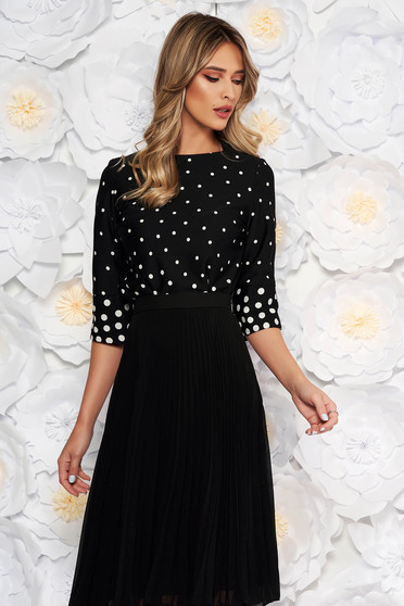 StarShinerS black elegant with easy cut women`s blouse thin fabric dots print