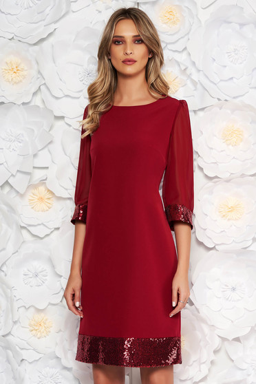 Burgundy occasional dress from non elastic fabric transparent sleeves with sequin embellished details