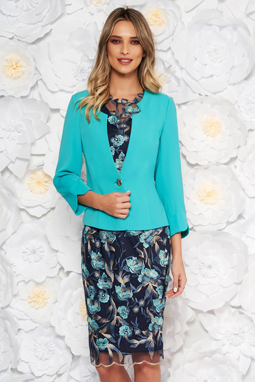 Turquoise elegant lady set from laced fabric from 2 pieces laced