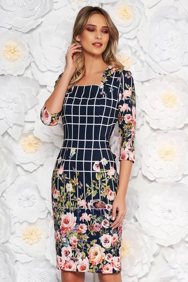 Darkblue elegant pencil dress slightly elastic fabric with floral print